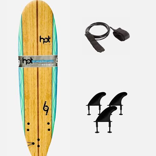 Hot surf 69 8″0 ft Soft board Beginners Surfboard Foam Mini Mal inc leash wax...