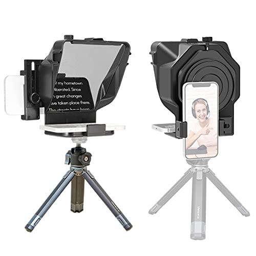 Mini Teleprompter portátil, Aparato de grabación de vídeo móvil con Control Remoto para Youtube Tiktok Video Live Streaming, teléfono y DSLR (Color : For Phone~with Stand)