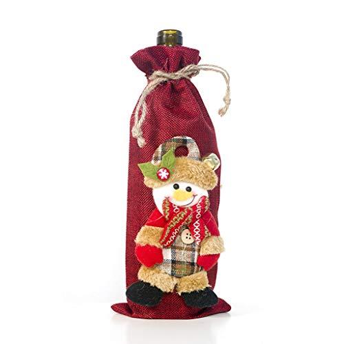 HEG Weihnachtsdekoration Burlap Weihnachtswein-Set Weihnachtspuppe Wein-Tasche Champagne-Flaschen-Set Christbaumschmuck (Color : C)