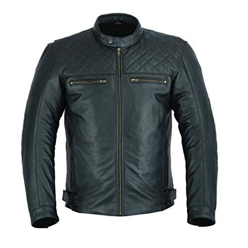 FREEDAY Chaqueta de Cuero Moto Motocicleta Chaqueta Corta Touring Motorista leather (XXL, NEGRA)