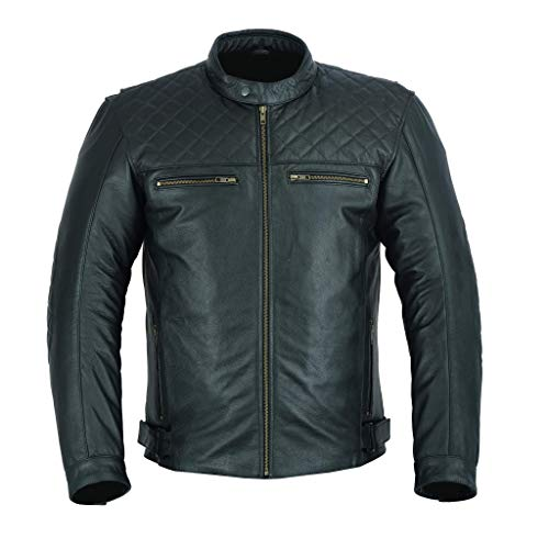 Freeday - Giacca da motociclista in pelle da uomo, alta protezione, colore nero L nero