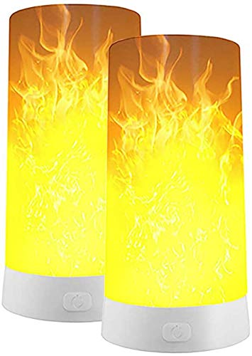 2er Set LED Flamme Lampe, USB Wiederaufladbar Flackernde Flammenleuchte mit Fernbedinung Nachtlichter für Heim/Hotel/Party