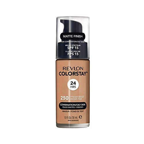 Revlon Colorstay 24H, Base de maquillaje para rostro, para cutis mixto/graso, con dosificador, color Beige (250 Fresh Beige), 30ml