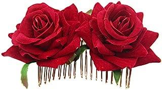 TOOGOO Pinza De Pelo De Flor Rosa Diapositiva Alfiler De Bailarina De Flamenco Broche De Flores Clip De Estilo De Cabello Para Senora