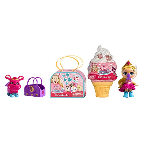 """LOVE, DIANA, Kids Diana Show, Fashion Fabulous Collectible Doll and Pet 2-Pack Bundle, Surprise 3.5"""" Diana Doll in Adorable Ice Cream Cone and Surprise Pet, 10 Different Diana Doll Styles to Collect"""
