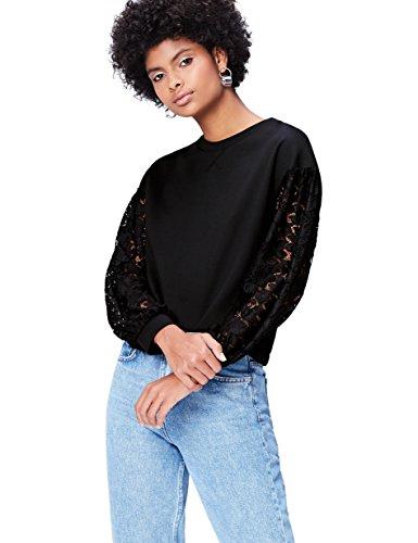 Amazon-Marke: find. Sweatshirt Damen mit Spitze und rundem Ausschnitt, Schwarz, 36, Label: S
