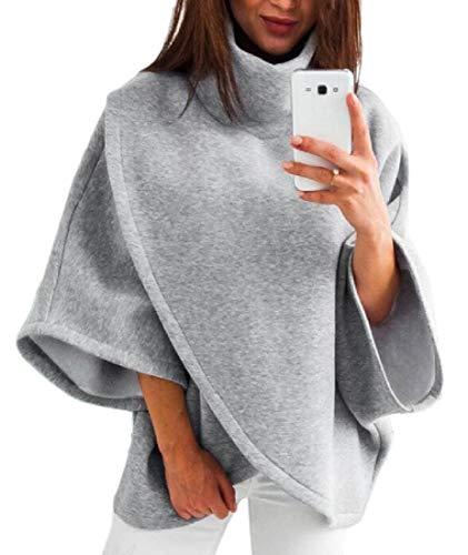 dahuo Damen Sweatshirt mit hohem Kragen, Fledermausärmeln, asymmetrischer Saum, Wickelpullover, Outwear Gr. Small, grau