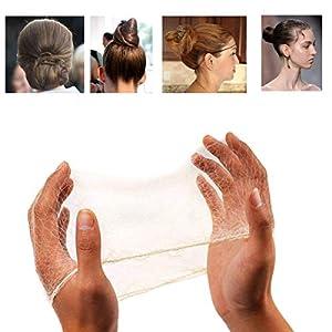 50PCS Mallas para el cabello Cabello invisible con borde elástico Redes de pelo para la danza del ballet Rubia