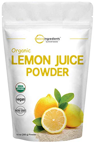 Micro Ingredients Organic Lemon Juice Powder, 10 Ounce, Rich in Natural Vitamin C (Immune Vitamins) for Immune System Booster, Lemon Juice Organic, Great Flavor for Drinks, Smoothie & Beverages, Vegan