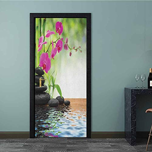 3D Door Stickers Murals Composition Bamboo Tree Floor Mat Orchid Stones Wellness Greenery Decorative Sticker Easy to Apply and Adhesive Holds Nicely Fuchsia Charcoal Grey Lime Green 36 x 79 Inch