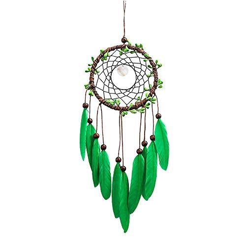 Yishelle Fait à la Main Dream Catcher Circulaire Net avec Plumes Perles dans Une Boîte Cadeau pour La Maison Chambre Mur Café Boutique Boutique Hanging Décoration Ornement Artisanat Cadeau Vert
