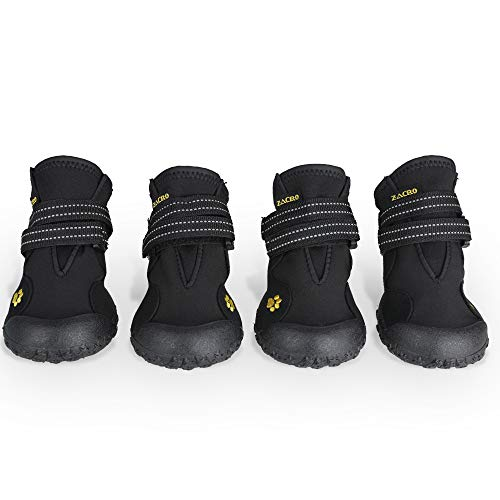 Zacro Protective Dog Boots - 4PCS Waterproof Shoes Outdoor Shoes for Medium to Large Dogs, Protectors Shoes with Two Reflective Fastening Straps and...