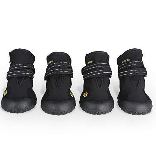 Zacro 4Pcs Bottes Chien, Chien Chaussures étanches Respirantes Antidérapant pour Taille Moyenne et Grande Chien Plusieurs Tailles Noir 4#