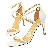 Etebella Damen Pfennigabsatz High Heels Riemchen Sandalen Lack Party Abend Pumps Sommer Hochhackige Stiletto Schuhe(Weiß,40)
