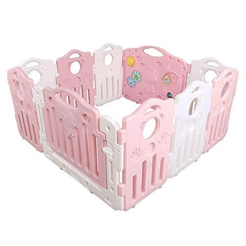 HXBH Abnehmbarer Laufstall, 10-Panel-Kunststoff-Baby-Lernspielzeug Raumteiler Sicherheit Spielplatz Familie Innenraum Perimeter Zaun