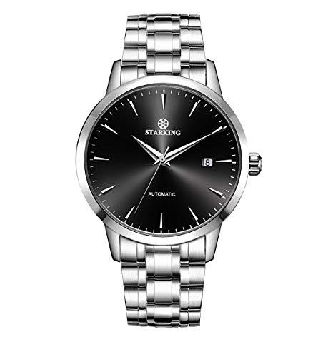 STARKING Herren-Armbanduhr AM0184SS12, klassisch, automatisch, Edelstahl, schwarzes Zifferblatt