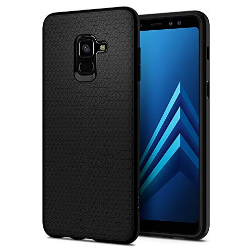 Spigen Coque Samsung A8 2018 [Liquid Air] Souple, Noir Matte, Silicone, Protection Fine, Coque Housse Etui Compatible avec Samsung Galaxy A8 2018 - Noir