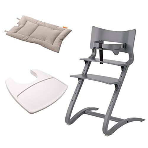 Leander Stuhl grau lackiert - Hochstuhl - Kinderstuhl - Erwachsenenstuhl mit Babybügel + Tablett weiß + Kissen cappuccino
