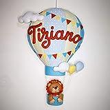 Fiocco nascita mongolfiera bimbo personalizzabile, pannolenci, regalo nascita, dolce attesa, regali per bimbo e bimba, neonati