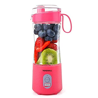 Portable Blender, Smoothie Blenders, Personal Size Blender USB Rechargeable Smoothies and Shakes Juicer Cup, 2000mAh Battery Strong Power Pink by