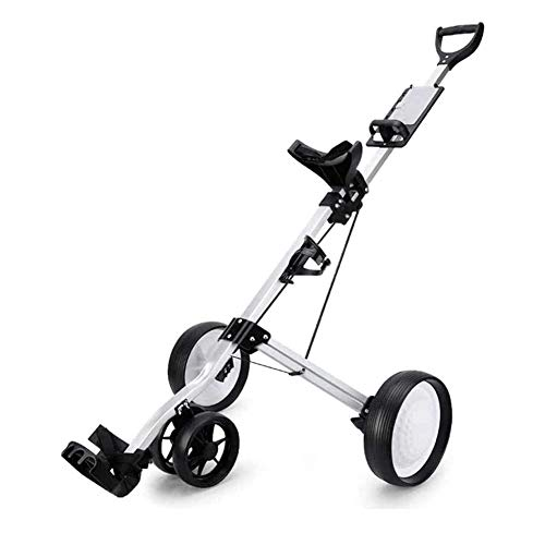 HLR Golftrolley Zieh Golfcarts 4 Wheel Golf Cart Push-Pull, Folding Golf Pull Trolley mit Getränkehalter, Compact Pull Caddy Cart, leicht zu öffnen