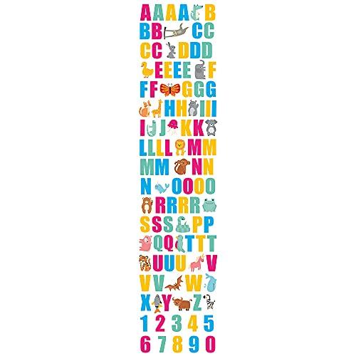 Space Alfabeto e Numeri Adesivo Murale Cameretta, Bambini Adesivo Parete, Lettere, Numeri, Animali, Decorazioni Adesive da Parete, Stickers, Soggiorno, Asilo, Camera da Letto