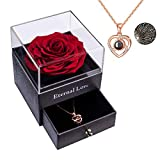 Sunia Eternal Preserved Rose Preserved Real Rose with Love You Collar Regalo de 100 Idiomas, Rosa Real Encantada para el día de San Valentín Boda para el día de la Madre para Ella