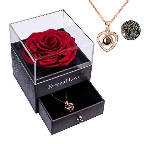 Rose éternelle Préservée Vraie Rose Préservée avec Love You Collier 100 Langues Cadeau, Véritable Rose Enchantée pour la Saint-Valentin Maman fête des mères Mariage Anniversaire Cadeau pour Elle