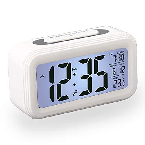 Reloj Despertador LCD Digital, Multi-Funciones Alarma Inteligente Muestra Hora, Temperatura, Fecha Silencioso como Regalo Creativo para Viejos Niños Dormitorio Oficina (Blanco)