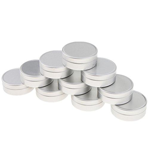 Homyl 10 Pcs 10ML/15Ml Pot Boîtier Boîte Vide en Aluminium pour Epice Baume Pommade de Maquillage Poudre Fard à Joues Rouge à Lèvres - argent, B-10ML-4 x 1,4 cm