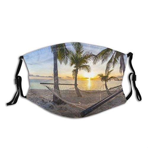 JISMUCI Face Cover Tropical Paradise Beach at Sunset with Hammock Balaclava Unisex Reusable Windproof Anti Dust Mouth Bandanas Outdoor Camping Motorcycle Running Neck Gaiter with 2 Filters