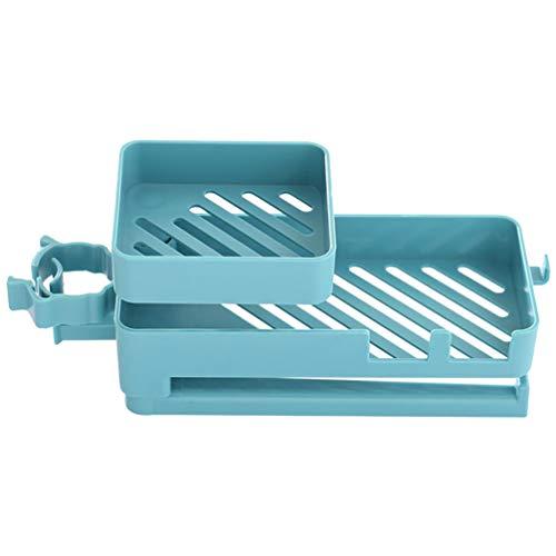 Cabilock 2-Laags Draaibaar Rek Aanrecht Spons Houder Plastic Kraan Afvoer Rek Aanrecht Spons Doek Organisator Organisator Houder Plank (Blauw)