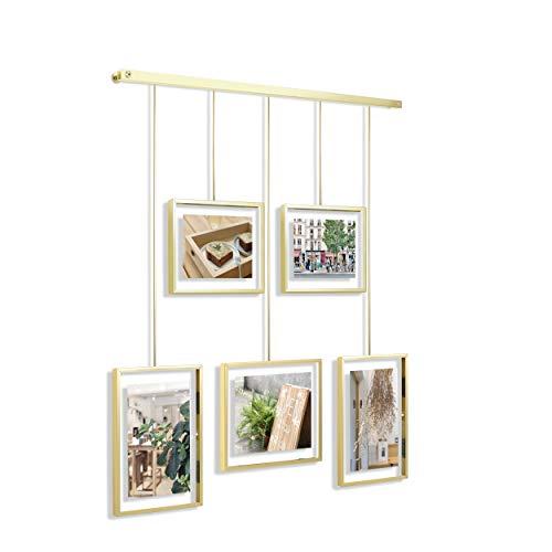 Umbra Exhibit Foto Collage Flexibles Bilderrahmen-Set zur Horizontalen und Schrägen Anbringung, für 5 Photos, Kunstdrucke, Bilder, 10 x 15, 13 x 18 und 20 x 25 cm, Mattes Messing, One-Size