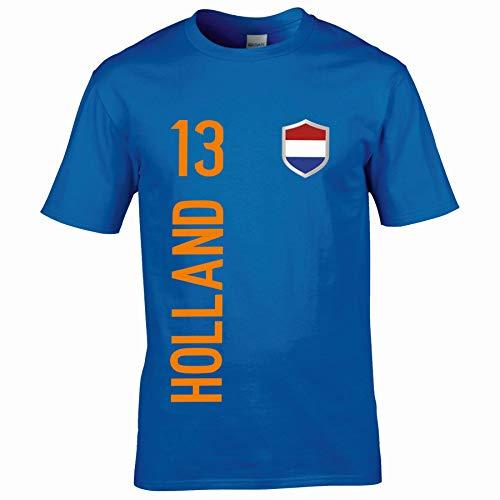 FanShirts4u Kinder Fanshirt Trikot Jersey NIEDERLANDE Holland Nederland T-Shirt inkl. Druck Wunschname u. Wunschnummer EM WM (7/8 Jahre 122-128 cm, Holland/blau)