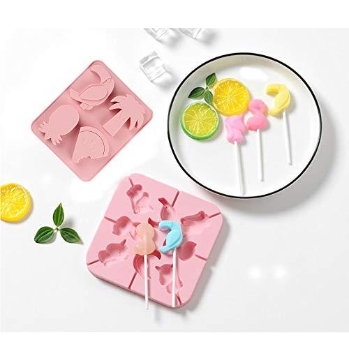 Jixista Molde Lollipop silicón Candy Moldes para Piruleta Molde de Silicona para Cake Pop el patrón de frutas y animales Moldes de Bandeja Molde de Chocolate Moldes de Silicona de Calidad alimentaria