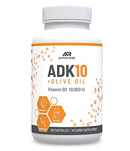 ADK 10 Vitamin Supplement + Olive Oil for Better Absorption - with Vitamins A + D3 (10,000 iu) + K2 (MK7+MK4) - 90 Capsules - Vegetarian - Non-GMO