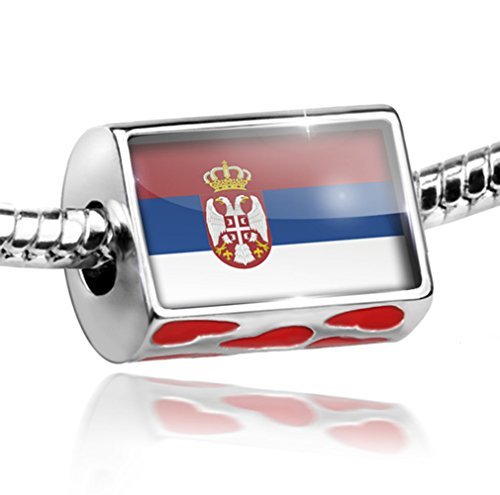 NEONBLOND Bead with Hearts Serbian Flag - Charm Fit All European Bracelets