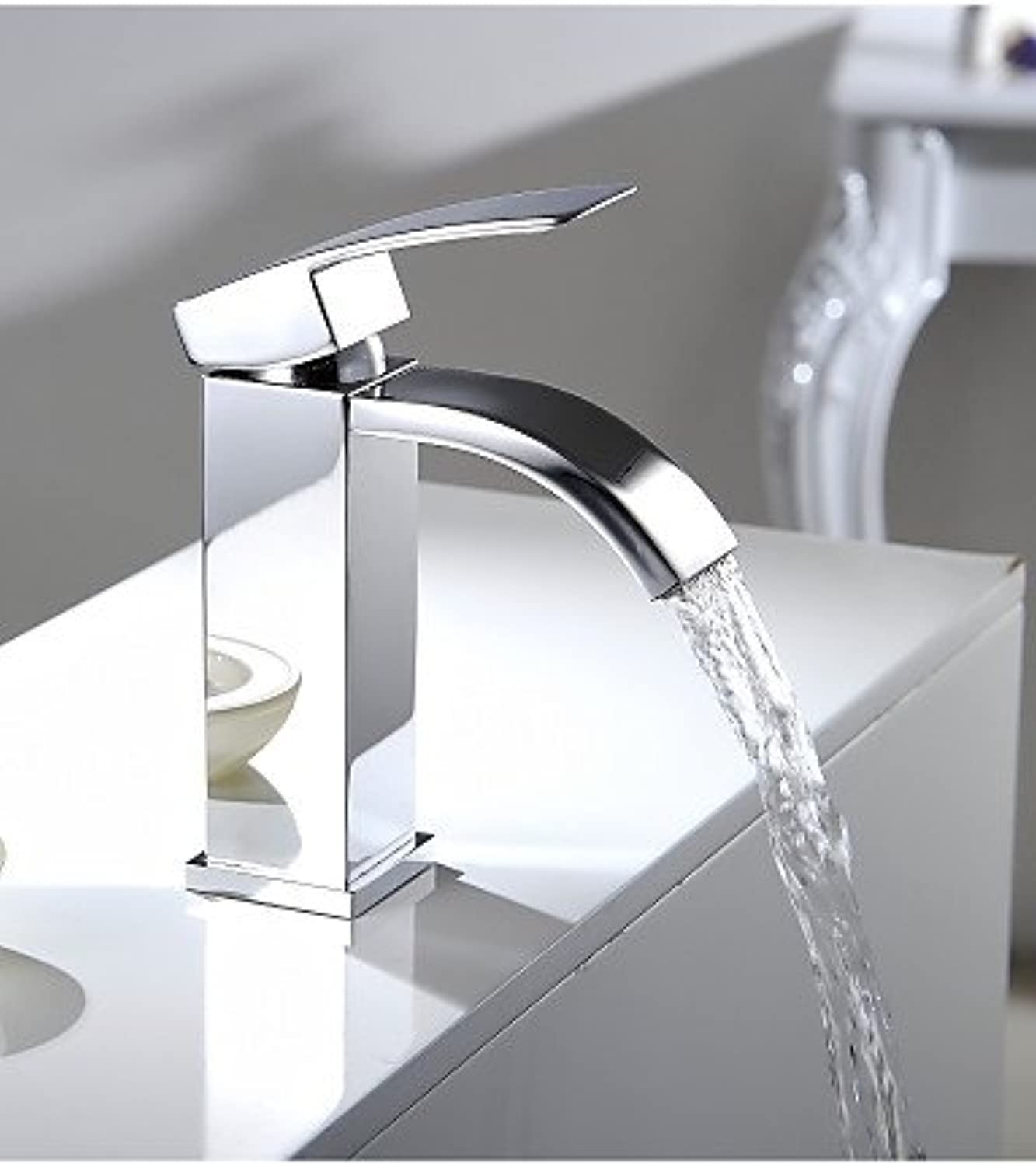 Single Handle Waterfall Bathroom Vanity Sink Vessel Faucet with Extra Large Rectangular Spout Lavatory Mixer Tap Chrome