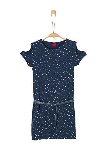 s.Oliver RED Label Mädchen Jerseykleid mit Glitzergürtel Navy dots AOP 146.REG