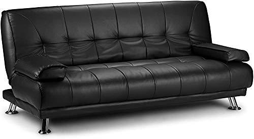 Divano, 3 designer divano letto in pelle artificiale cromata nuovo, corrimano mobile,Black