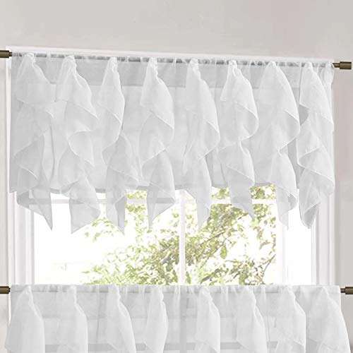 """Sweet Home Collection Veritcal Kitchen Curtain Sheer Cascading Ruffle Waterfall Window Treatment-Choice of Valance, 24"""" or 36"""" Teir, and Kit, White"""