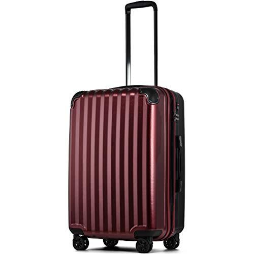 スーツケース 軽量 拡張 ダブルキャスター 8輪 LM L 中型 大型 キャリーケース キャリーバッグ 3泊 4泊 5泊 6泊 7泊 8泊 9泊 10泊 (LM 64L〜75L, ワイン/BK)