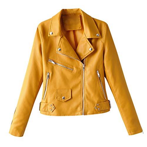 Linkay Damen Motorrad Lederjacke Damen Lederjacke Motorrad Echt Kragenlose Damen Kunstleder Jacke Bikerjacke Frauen Winter Langarm solide Reißverschluss Jacke Mantel Outwear Coat (Gelb,Large)