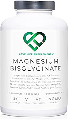 """LLS Magnesium Bisglycinate (Chelated)   Zero Bulking Agents   2500mg (250mg Magnesium)   240 Capsules / 60 Servings   Highly Bioavailable Form of Magnesium   Produced in the UK Under GMP Licence   Love Life Supplements - """"Live Healthy, Love Life."""""""