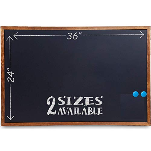 Wood Framed Chalkboard - 36x24 Large Magnetic Rustic Wall Chalk Board, Chalk Boards with Frame | Non Porous Hanging Blackboard Sign | Regular or Liquid Chalk Markers | Magnet Board