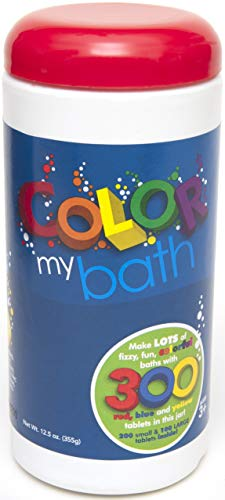 Color My Bath - 300 Tablet Jar - Fizzing Tub Water Primary Color Changing Tabs, Fun and Educational Bathtime Activity For Kids, Safe For Baby Non Toxic, Non Staining, Soap and Frangrance-Free Formula