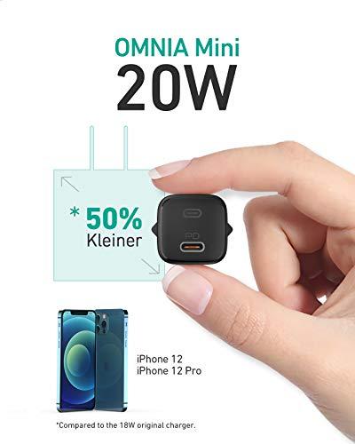 AUKEY Omnia Mini Ladegerät für iPhone 12, 20W USB C Ladegerät für neues iPhone, Schnellladegerät Power Delivery 3.0, USB C Netzteil PD Ladegerät für iPhone 11 Pro Max, iPad 2020, Airpods Pro (Schwarz)