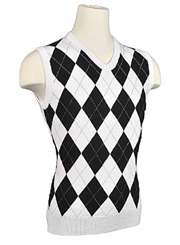 Women's Argyle Golf Sweater Vest - White/Black/Grey Overstitch (Small)