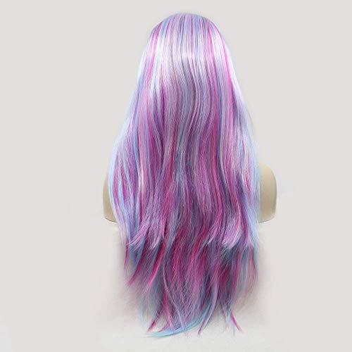 ZENGZHIJIE Pelucas Peluca de Pelo Largo y Rizado Multicolor para Mujer Encaje Hecho a Mano Europa y Conjunto de Peluca en el Color de la Peluca
