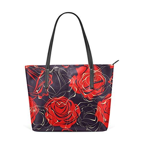 COOSUN Rosas rojas sobre fondo oscuro PU cuero bolso de hombro monedero y bolsos bolso de mano para mujer